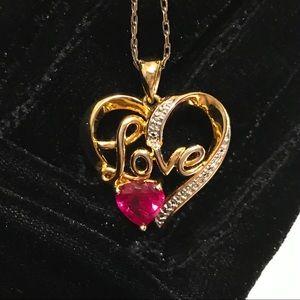 "Ruby Diamond Accent Cursive ""LOVE"" Heart Necklace"
